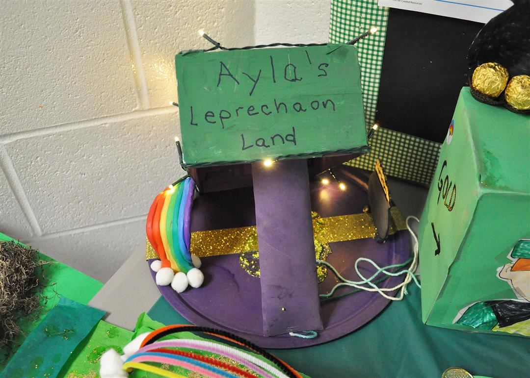 Kindergarteners at Stockbridge Valley, along with their parents/guardians, worked on leprechaun trap